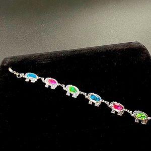 Silvertone Clasp Bracelet w Multicolor Elephants